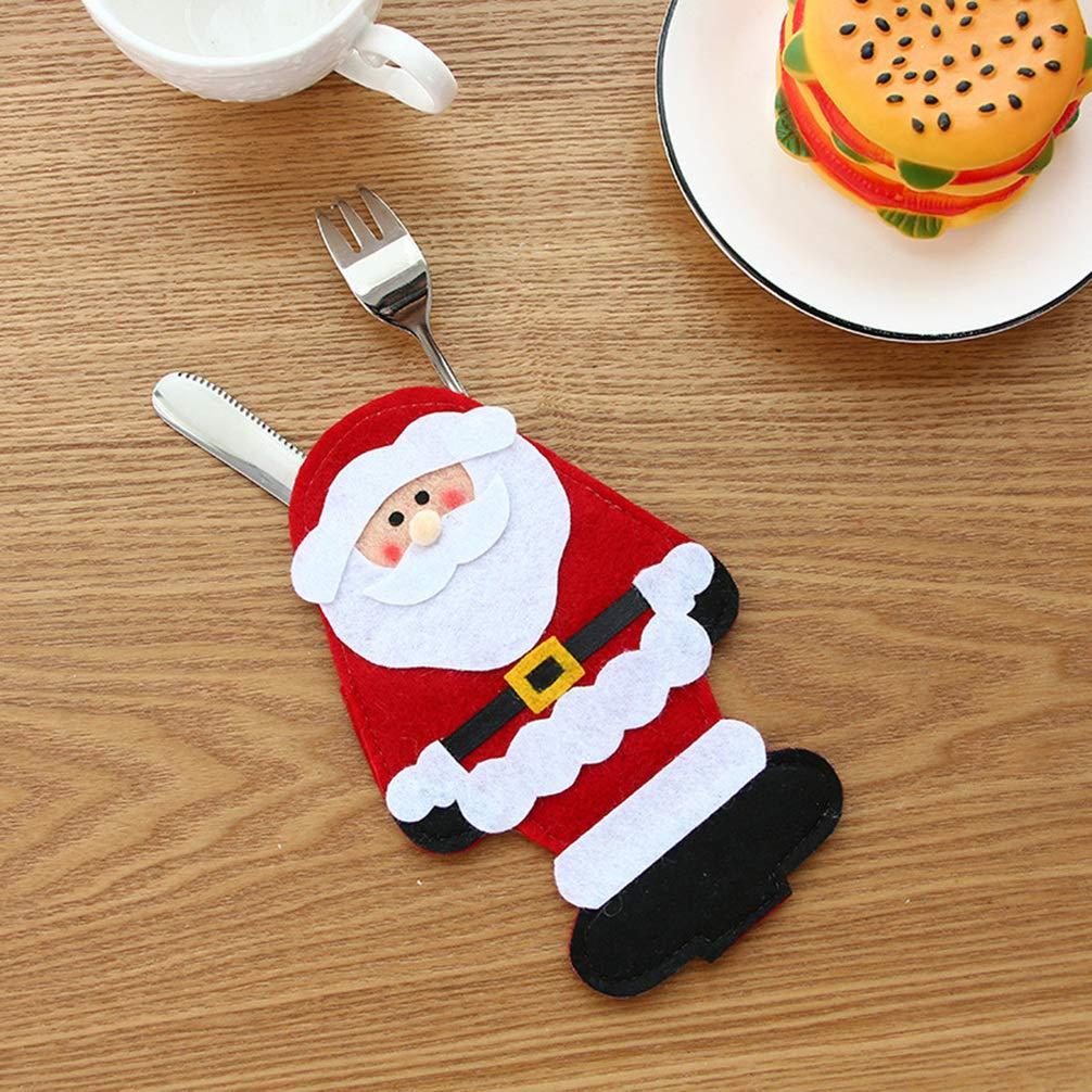 Toyvian 6 Piezas Bolsa de Cubiertos de Navidad en Forma de Pap/á Noel Mu/ñeco de Navidad Reno Bolsa de Vajillas Cucharas Cuchillos Decoraci/ón de Navidad