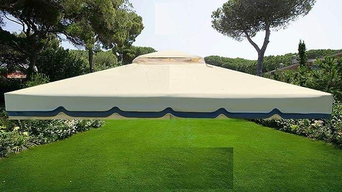 Lona de recambio para techo de Gazebo - Medidas 3 X 3 mt - Peso 450 gr - Antiviento - Antilluvia, TELO 3X3 PVC