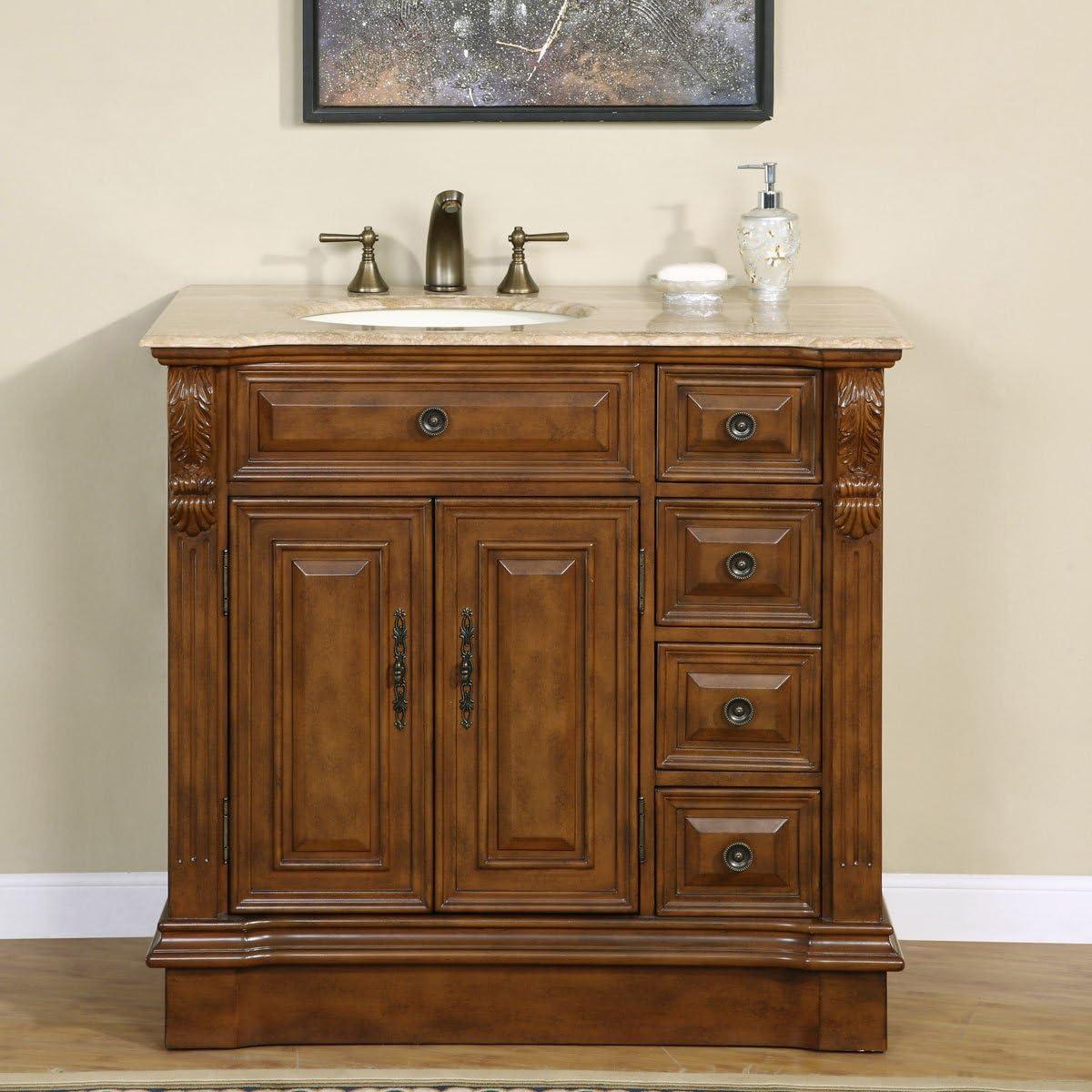 Silkroad Exclusive HYP-0904-T-UIC-38-L Off Center Single Left Sink Bathroom Vanity with Furniture Cabinet, 38 , Medium Wood