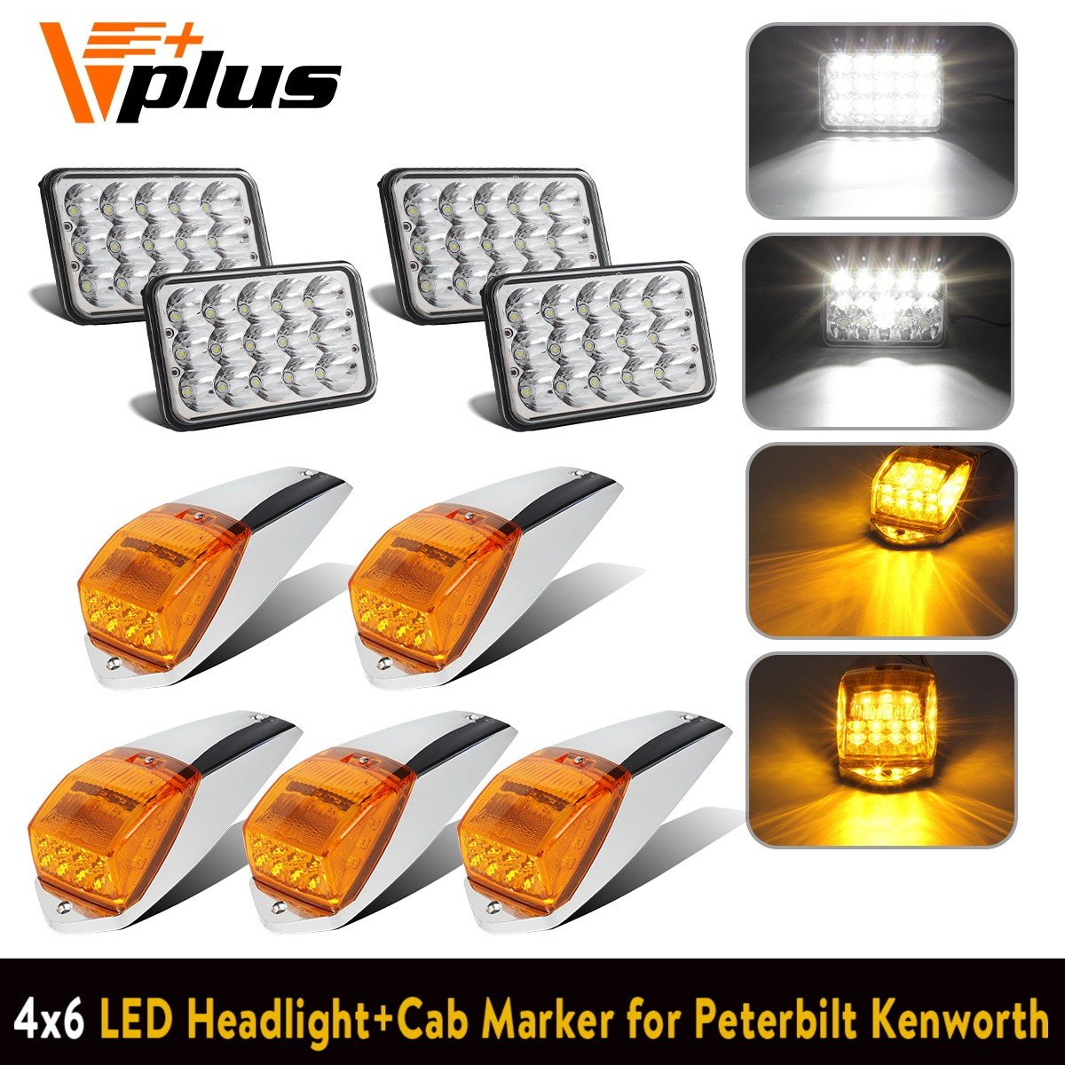 4pc 4x6 inch LED Headlight Sealed Dual Hi/Lo Beam White Rectangular H4651 H4666 H4656 H6545 H4652 H6545+ 5x Cab Marker Clearance Roof Light 17 LED Amber/Yellow for Peterbilt Kenworth Freightliner Mack Partsam