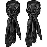 2 Pieces Silk Feeling Head Wrap Scarf Large Square Satin Sleep Headscarf, Nighttime Head Cap Provides Comfort