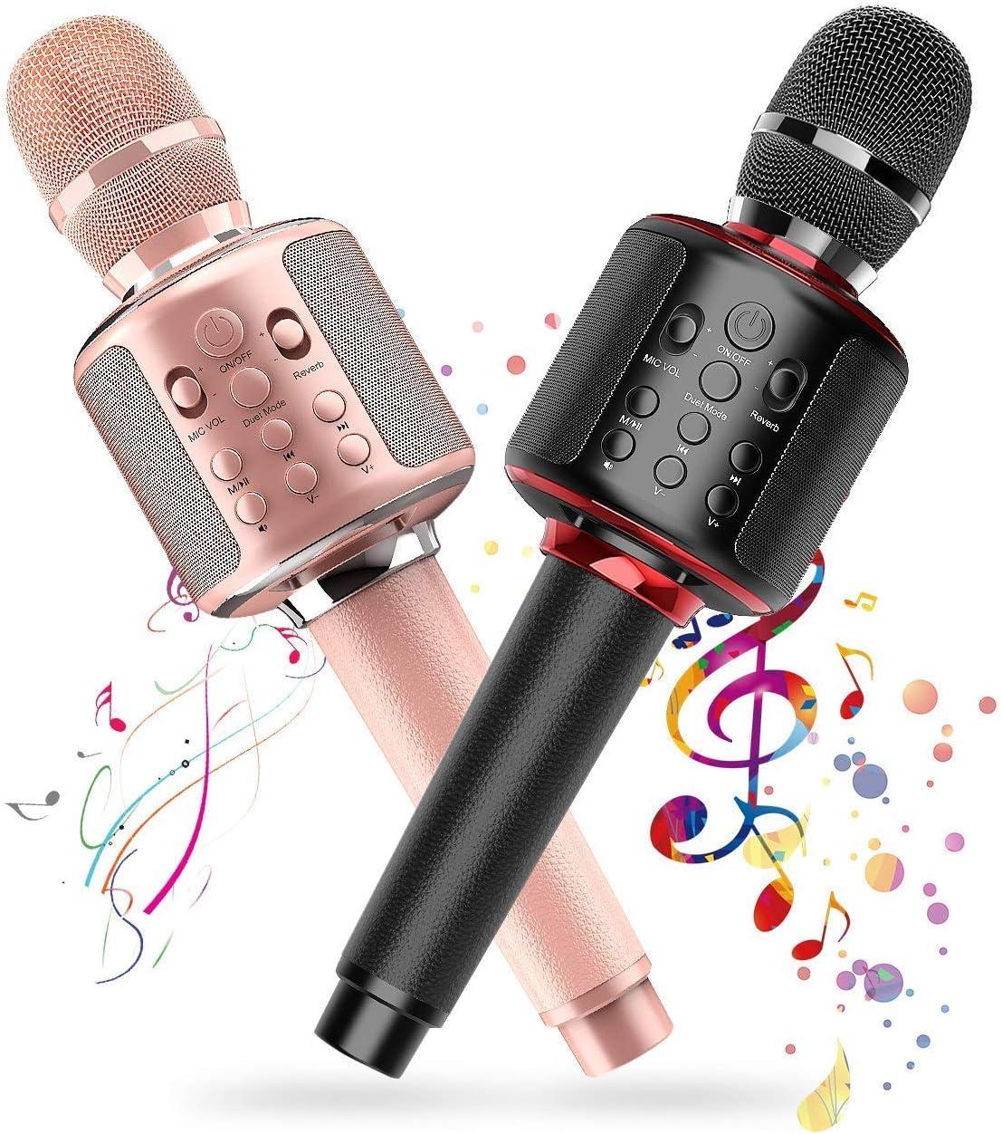 Dual Wireless Bluetooth Karaoke Microphones with Solo/Duet Karaoke Mics, 4 in 1 Portable Handheld Karaoke Singing Built-in 3000mah Rechargeable Machine Speaker, Christmas Birthday Party