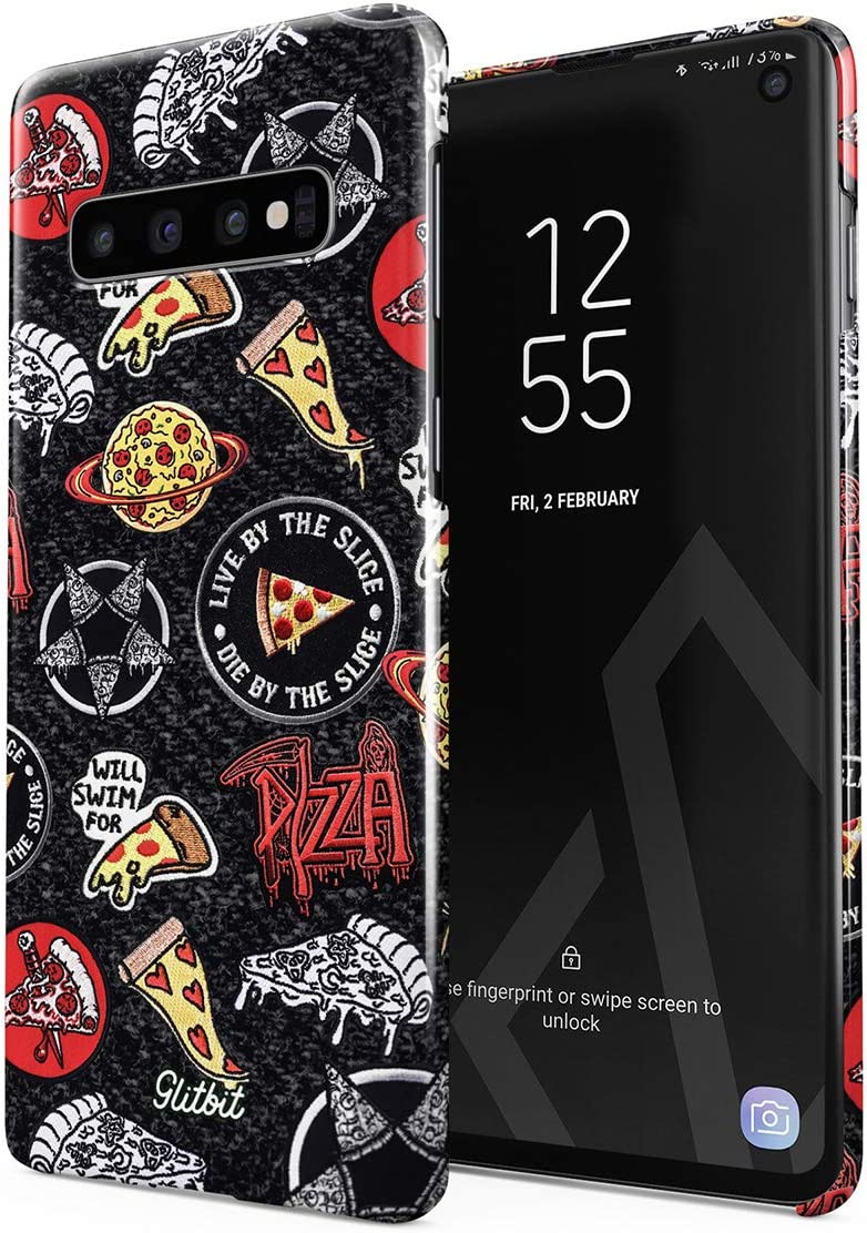 Glitbit Compatible with Samsung Galaxy S10 Case Pizza Slice Food Patches Pattern Embroidery in Crust We Trust Food Addict Rip Diet Thin Design Durable Hard Shell Plastic Protective Case Cover