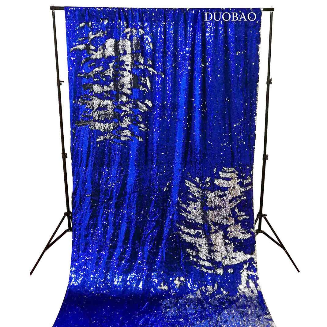 DUOBAO Sequin Backdrop 20FTx10FT Royal Blue to Silver Wedding Pics Backdrop Mermaid Reversible Sequin Photo Backdrop Baby Shower Curtains by DUOBAO (Image #2)