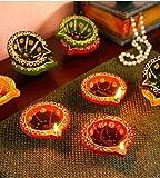 Shankypal Multicolour 4 Diya with 12 Brown Diya Set for Diwali Night Decoration (Multicolour)