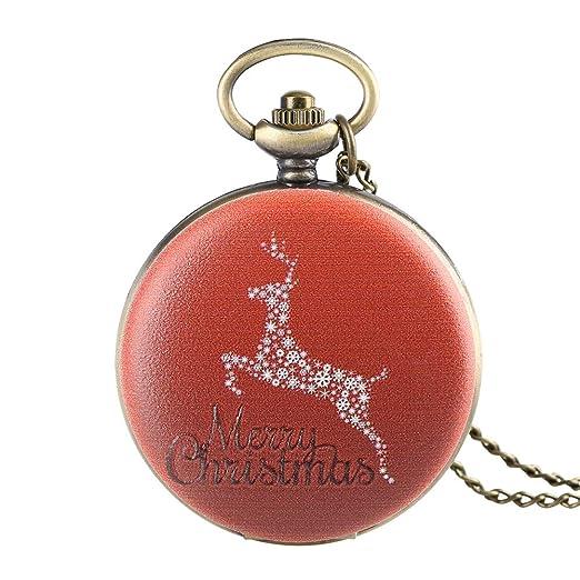 Reloj de Bolsillo para Hombre, diseño de Ciervo de Navidad, Reloj de Bolsillo Rojo para niño, Reloj de Bolsillo Digital árabe para Adolescentes: Amazon.es: ...