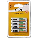 EBL 4 Packs Rechargeable AAA Batteries 1100mAh 1200 Cycles High Performance Battery With Retail Package
