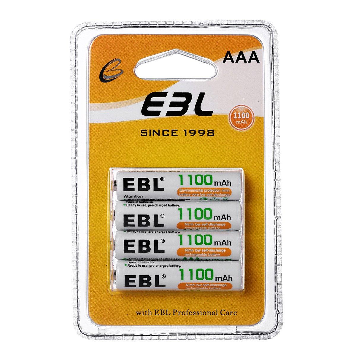 EBL 4 Stück 1100mAh NI-MH Akkus AAA Mirco Wiederaufladbare Akkus