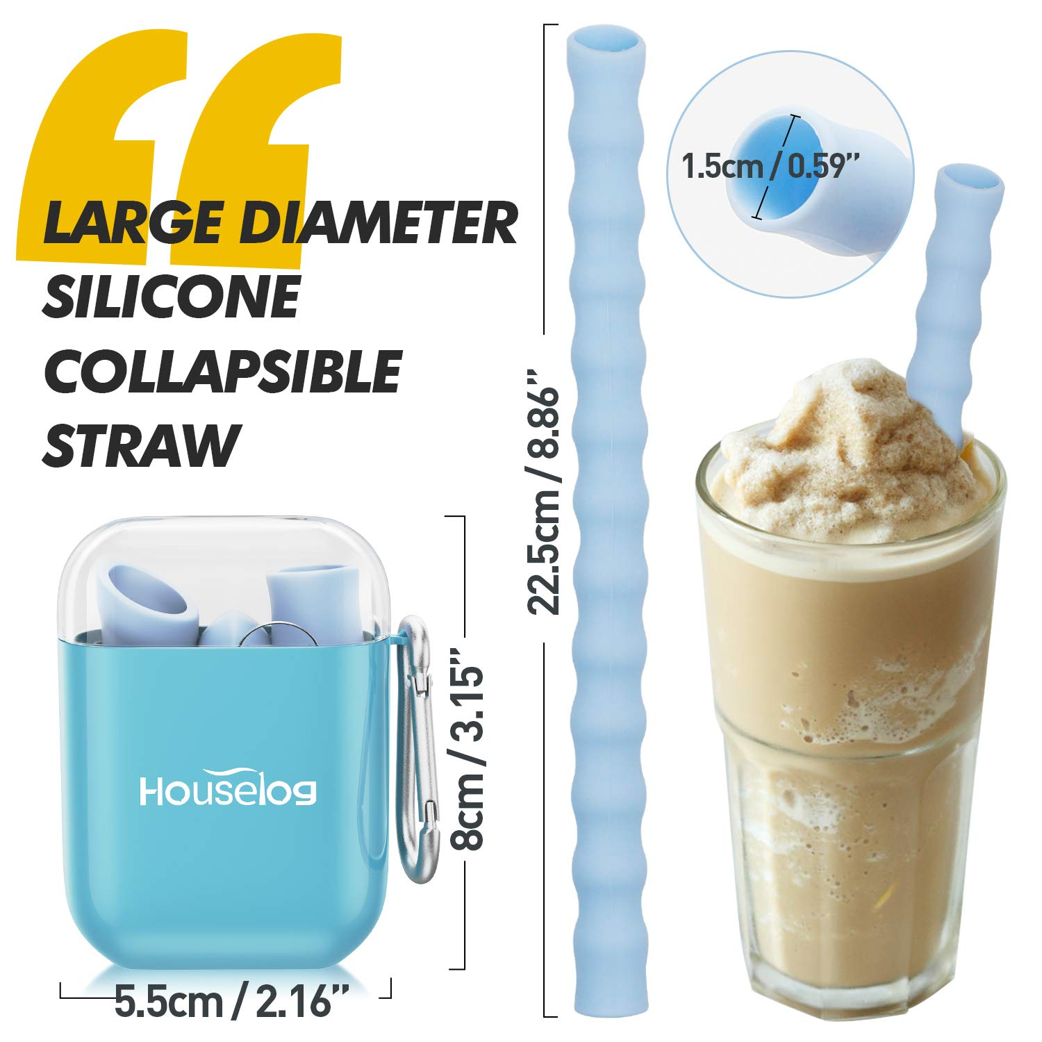 Houselog Reusable Straws,Large Silicone Foldable Straw Collapsible Flexible Tube with Cleaning Brush for Drinking and Smoothie 2PCS