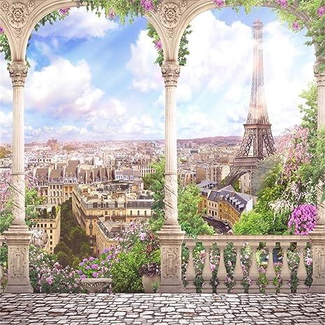 OFILA Eiffel Tower Backdrop 6x6ft Vintage Wallpaper Background Paris Themed Party Decoration France Buildings Wedding Portraits