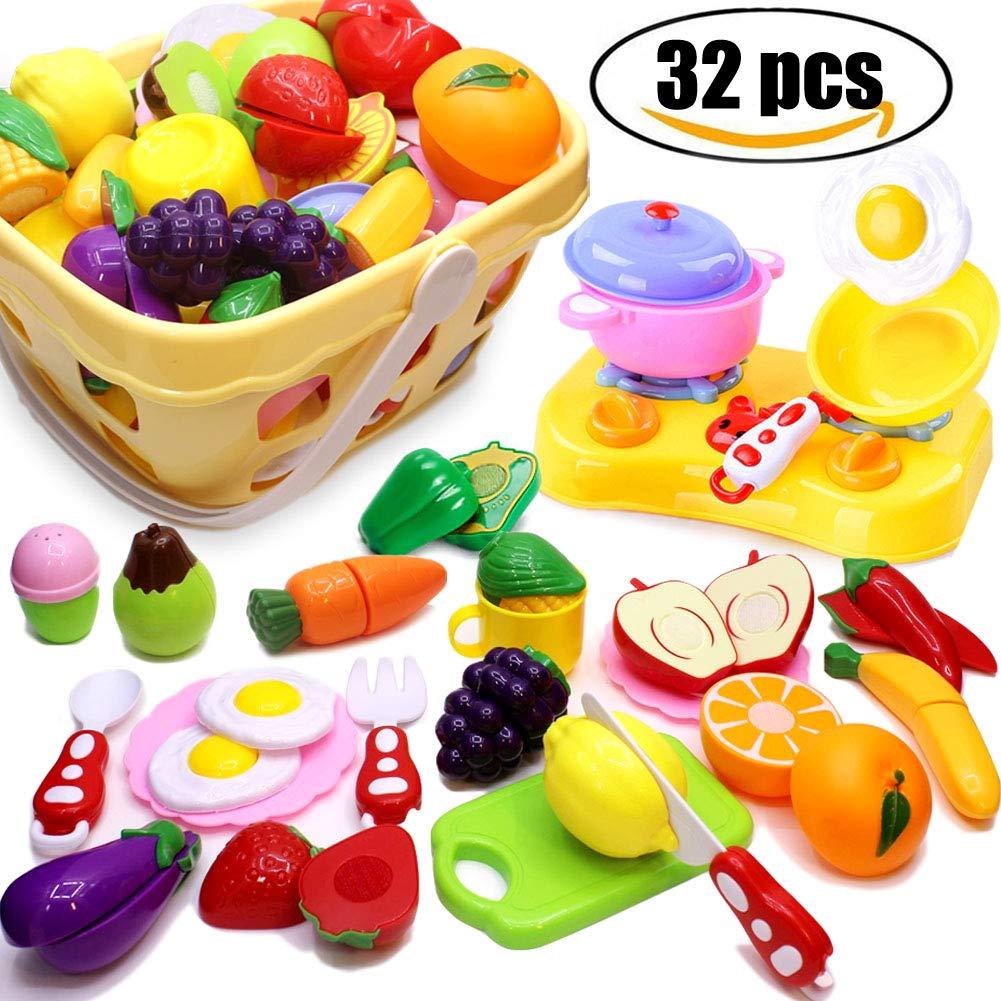 32 St/ück K/üche Spielzeug Rollenspiel Lernspielzeug Geschenk Airlab K/üchenspielzeug f/ür Kinder Geschirr Schneiden Obst Gem/üse Lebensmittel