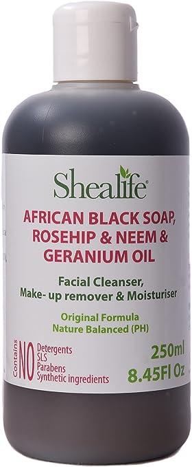 Organic africana negro jabón líquido, 250 ml, Escaramujo y Neem ...