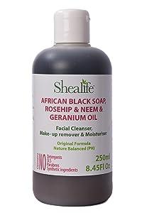 Shealife African Black Soap Liquid Rosehip & Neem Geranium Oil Facial Cleanser 250Ml 8.45 Fl Oz Black