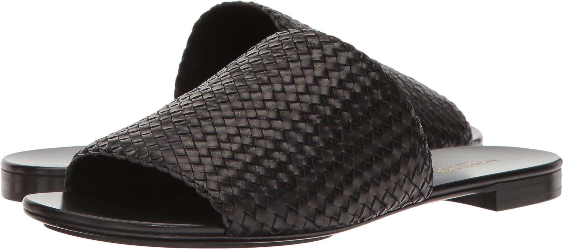 Michael Kors Women's Byrne Black Woven Leather Sandal