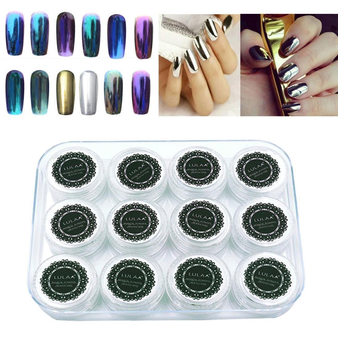 Amazon.com : LULAA 12 Colors Nail Glitter Powder Shinning Nail ...
