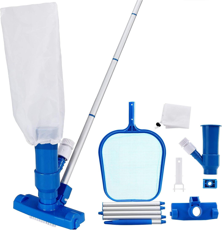 Deuba Set de limpieza para piscina Accesorios Aspiradora Filtro Recolector Fácil manejo Tubo telescópico Kit de limpieza