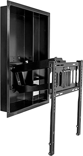 Hide-A-Mount Full-Motion, Fully-Flushed TV Wall Mount Recessed Box Drop-Down MantleMount TV Wall Bracket TV Tilts Out Down No Messy Cables Hardware Visible, Perfect for Custom Interiors