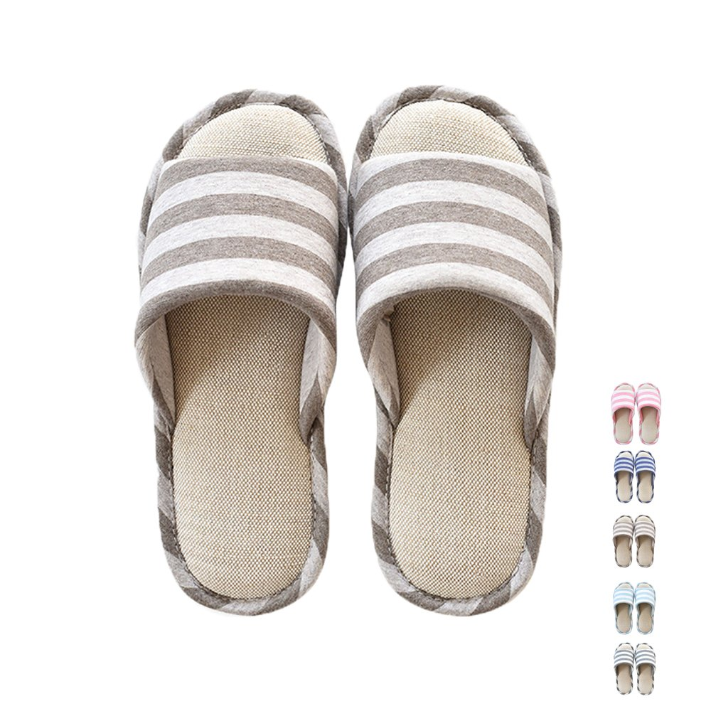 MAGILONA Women Mens Unisex Washable Cotton Open-Toe Home Slippers Indoor Shoes Casual Flax Soft Non-Slip Sole Shoes