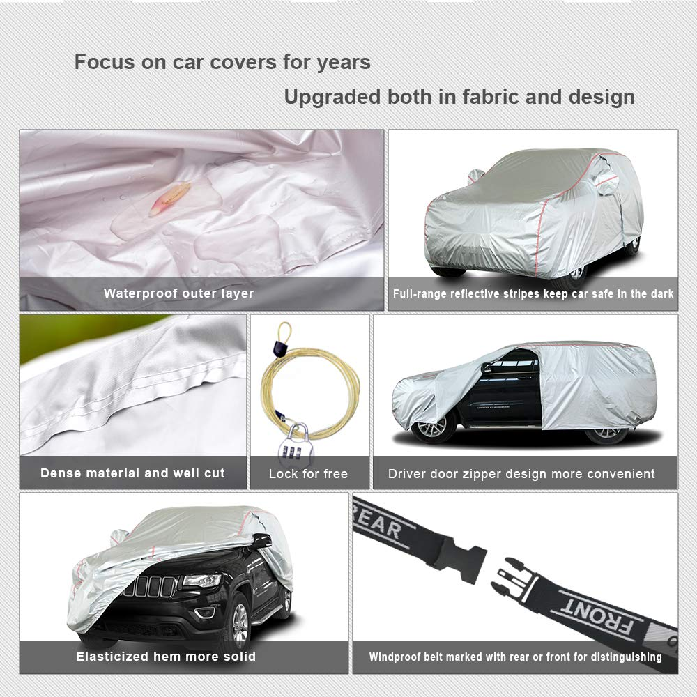 Universal Fit for SUV JAuto 6 Layers Car Cover Waterproof//Windproof//Dustproof//Scratch Resistant for All Weather 182-190 Outdoor Full Cover Snow Rain Sun UV Protection with Zipper Door