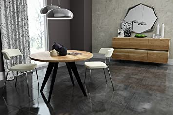 Esstisch modern rund  KARAKTER-MÖBEL runder Tisch rund Esstisch Akazie massiv Massivholztisch  Modern Nordic Ø 90 cm