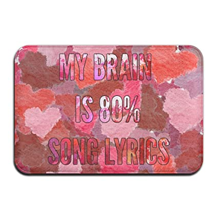 Amazon.com: Soft Non-slip My Brain Is 80% Song Lyrics Bath Mat Coral ...