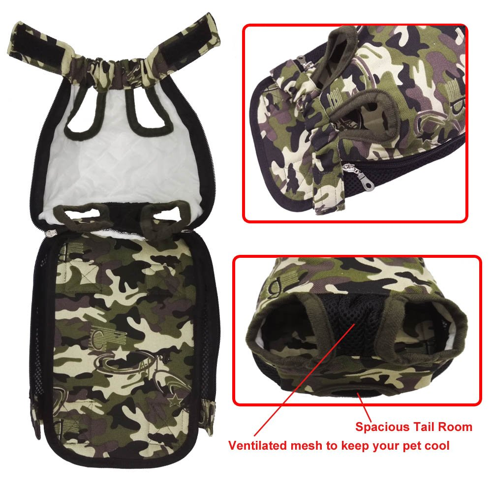 HANCIN Pet Carrier Backpack - Legs Out Front Cat Dog Carrier, Camo, Small Size