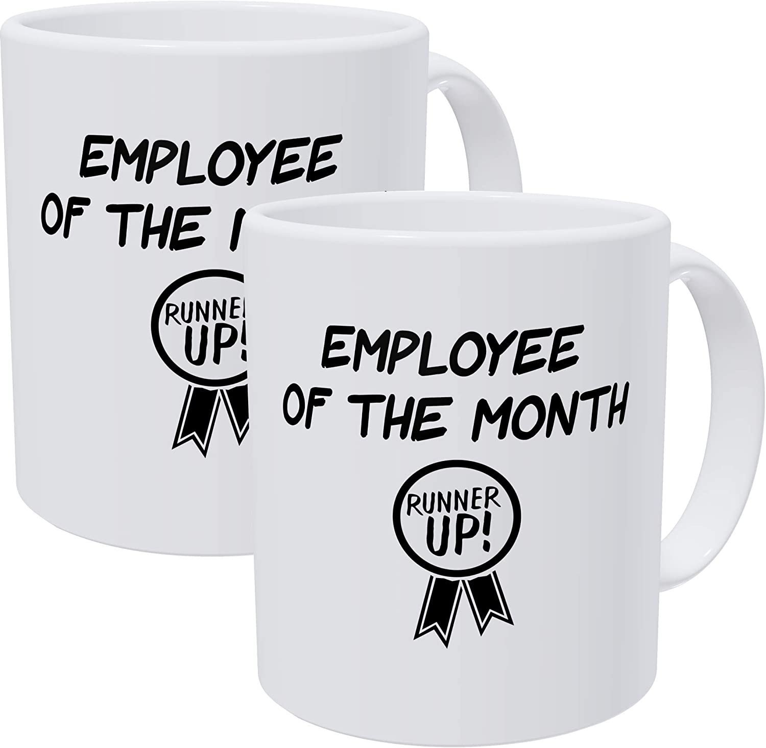 Willcallyou Employee Of The Month with Runner Up Badge Bundle Pack Of 2 Funny Coffee Mugs For Coworkers, 11 Ounces Sarcastic Mug For Office Humor And Coworker, White Elephant Exchange Gifts at Work