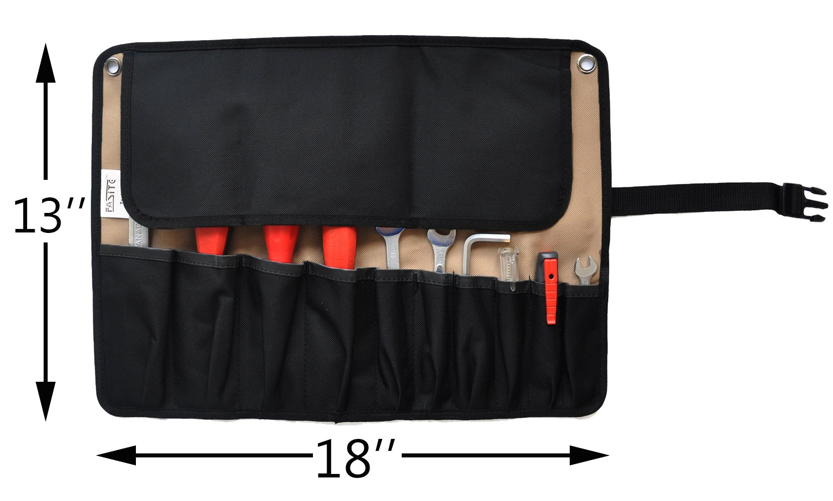 fasite 10 pockets roll up tool pouch wrench pouch organizer ebay. Black Bedroom Furniture Sets. Home Design Ideas