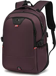 Laptop Backpack Water Resistant Backpacks Durable College Travel Daypack Anti Theft with USB Charging Port for 15.6 Inch Laptops Best Gift for Men Women Boys Girls Students(15.6 Inch, Purple)