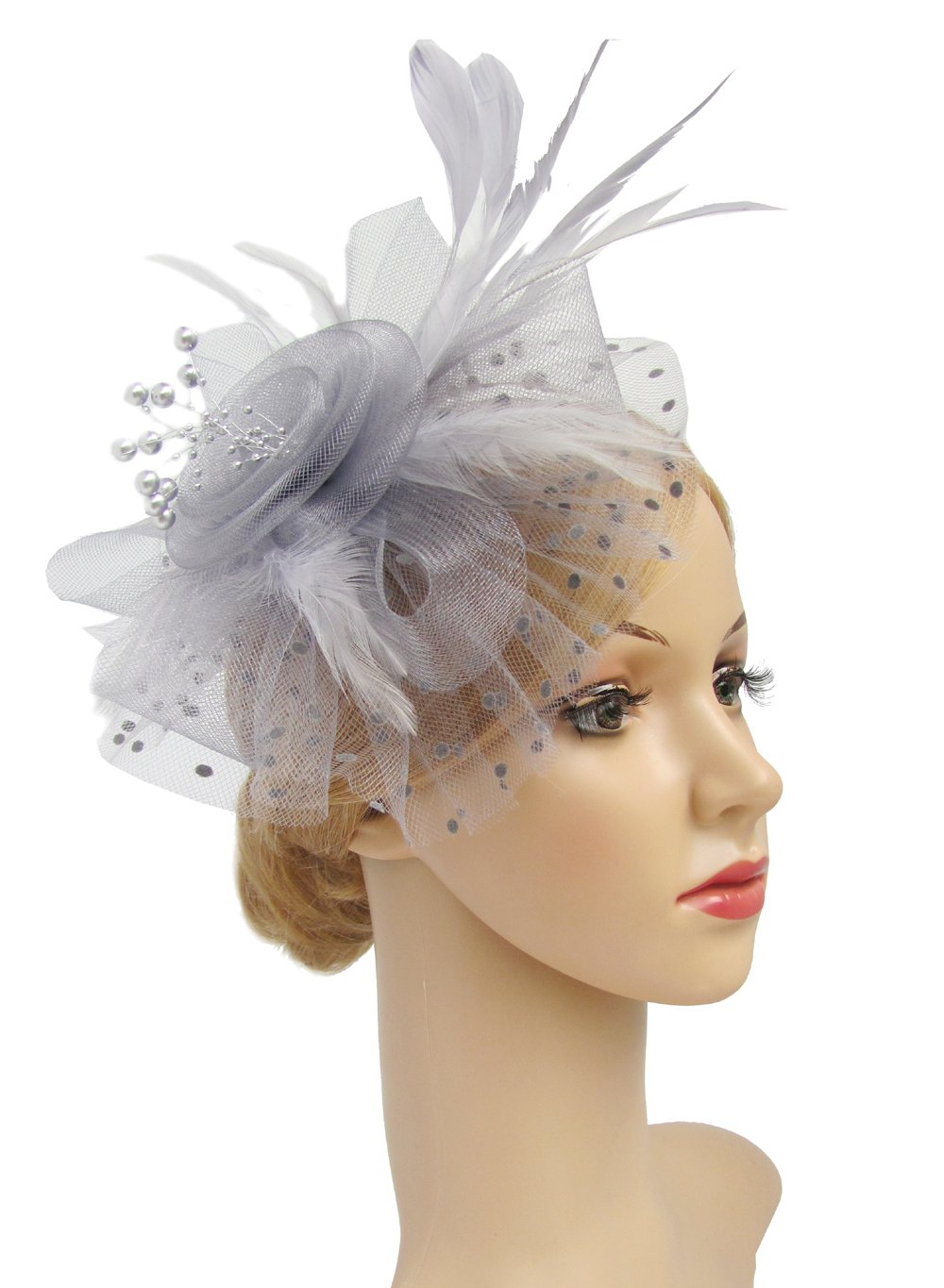 Flower Cocktail Tea Party Headwear Feather Fascinators Top Hat for Girls and Women (Silver Grey)