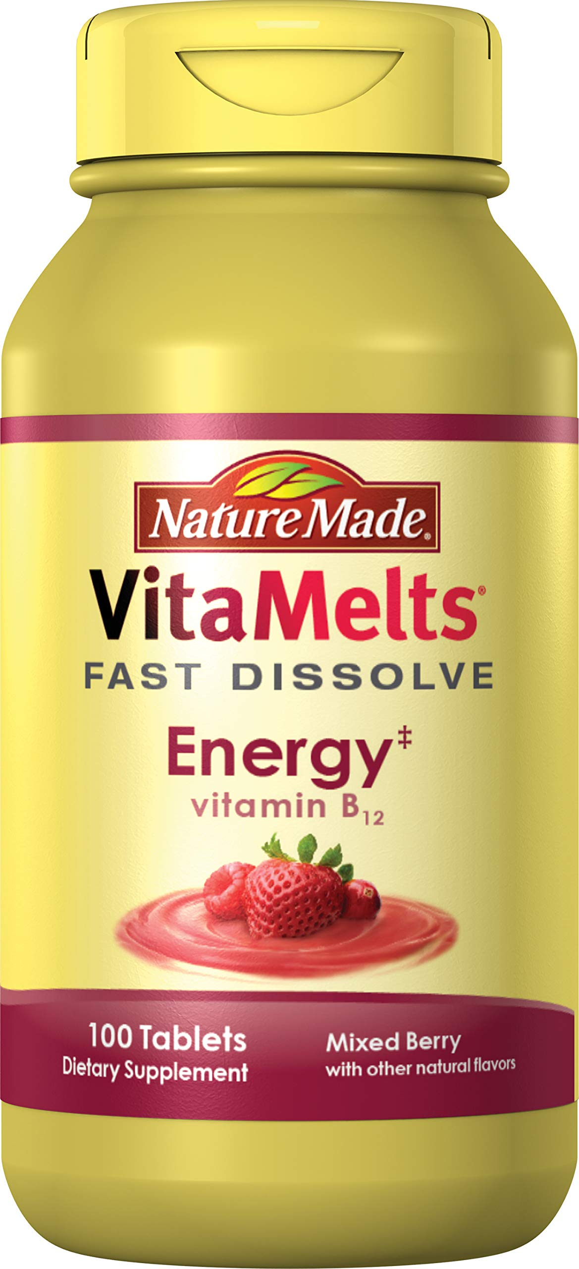 Nature Made VitaMelts Fast Dissolve Energy Vitamin B12 1500 mcg 100 ct by Nature Made