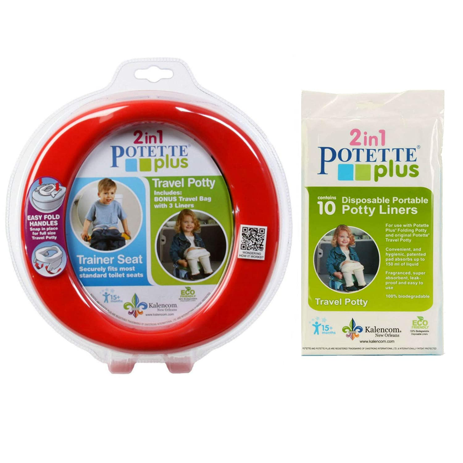 Potette Plus Travel Potty includes EXTRA 10-Pack of Liners Blue Green