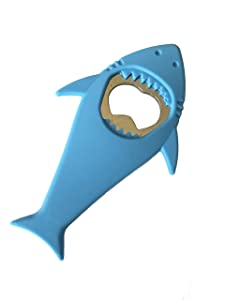 "L & H Household Cool Shark bottle Opener Silicone Stainless Steel Beer Bottle Opener Shark Refrigerator Magnet 4.8"" x 2.7"" (Blue)"