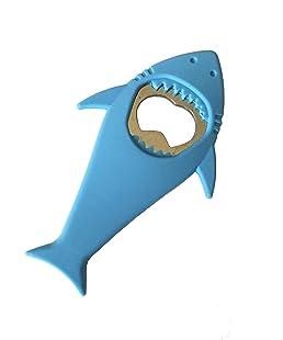 """L & H Household Cool Shark bottle Opener Silicone Stainless Steel Beer Bottle Opener Shark Refrigerator Magnet 4.8"""" x 2.7"""" (Blue)"""