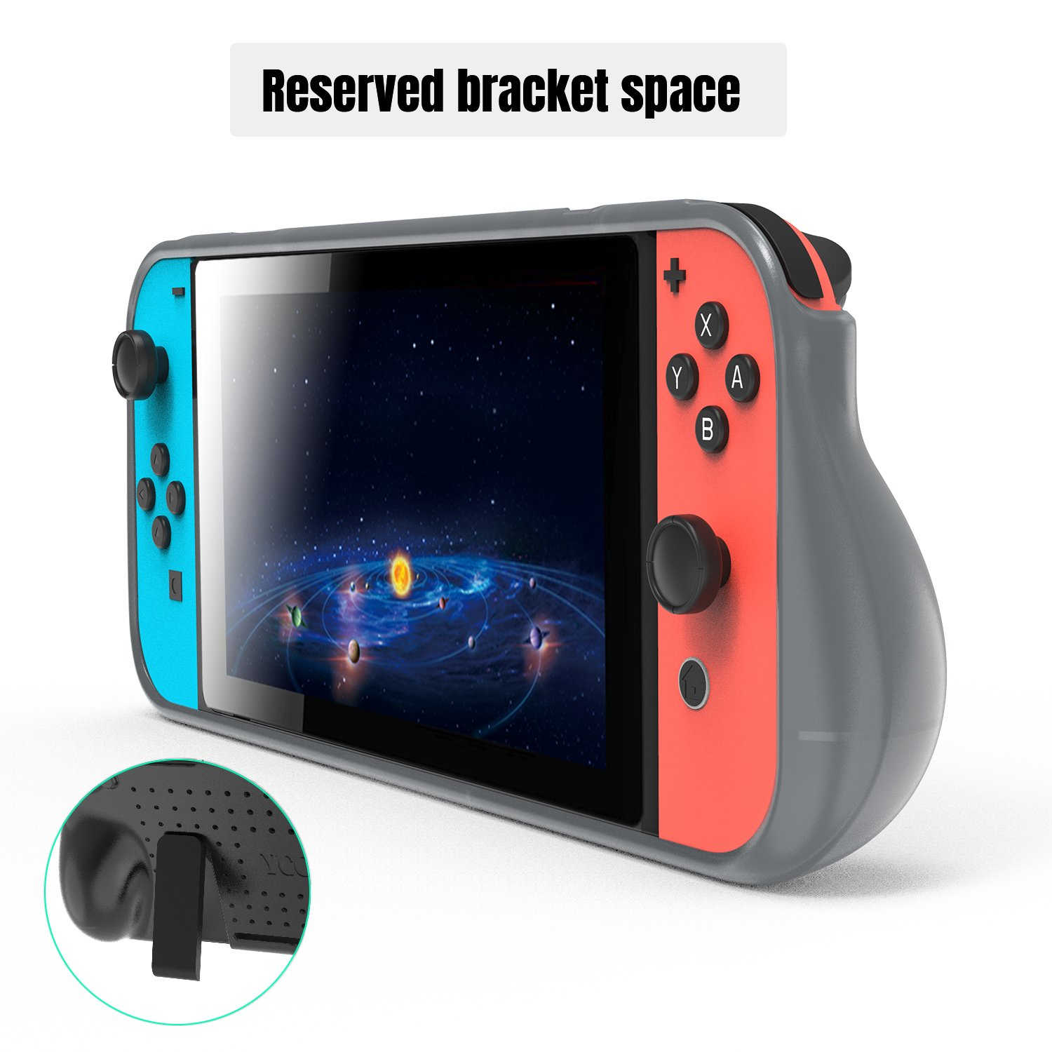Protective Case for Nintendo Switch, Grip Cover with Shock Absorption and Anti-Scratch Design - Comfortable TPU Case for Nintendo Switch Console (Grey)