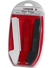Paterson PTP341 - Juego de 3 pinzas para copias, color blanco, negro y rojo