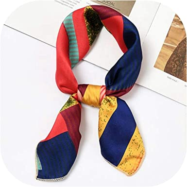 Vintage Women Elegant Head Neck Square Scarf Silk Feel Satin Hair Tie Band
