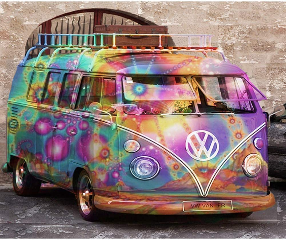 DLDZSWDIY 5D Diamond Painting Kits for Adults, Painting Cross Stitch Round Full Drill Crystal Rhinestone Embroidery Pictures Arts Crafts for Home Wall Decor(Volkswagen Motorhome, 12x16inch) (B)