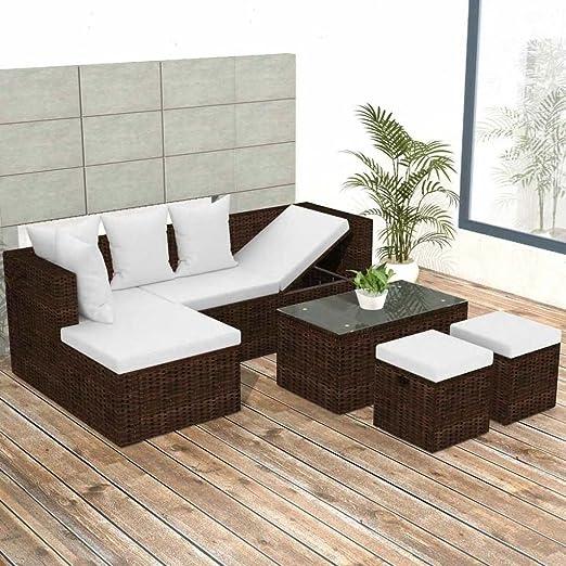 Tuduo Jardín de sofá Cama DE 12 Piezas Jardín Conjunto Ratán Marrón Mobiliario de Jardín: Amazon.es: Jardín