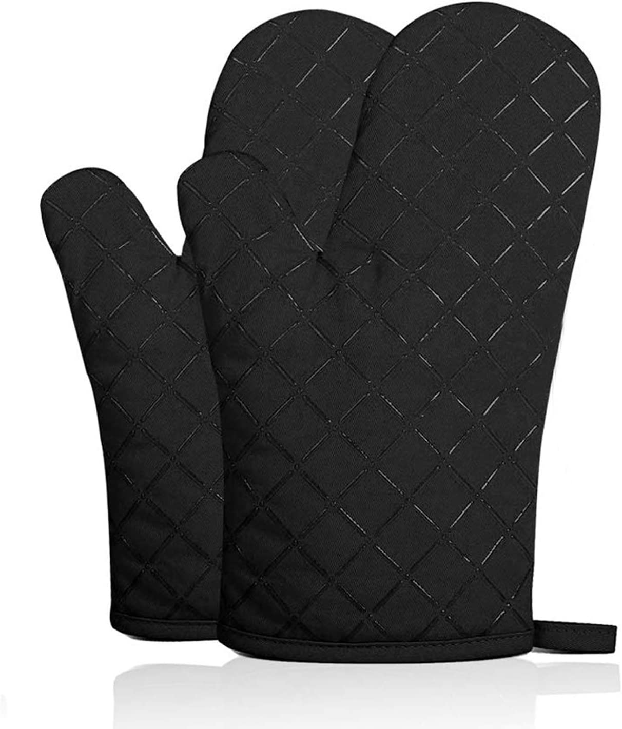 Emoly 2020 Cotton Oven Mitts with Silicone Heat Resistant Quilted Microwave Gloves for Baking, Black