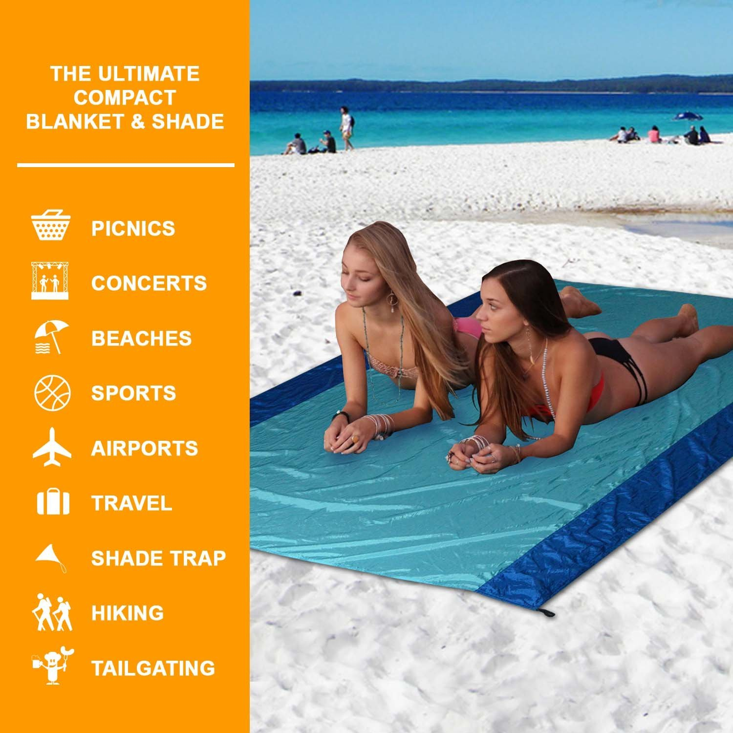 [Pack of 5] Sand Proof Beach Picnic Blanket of Parachute Nylon, works as Shade Tarp Sheet for your Sandless travel escape perfect for drying towel not a black microfiber waterproof or resistant mat by Spencer&Webb (Image #2)