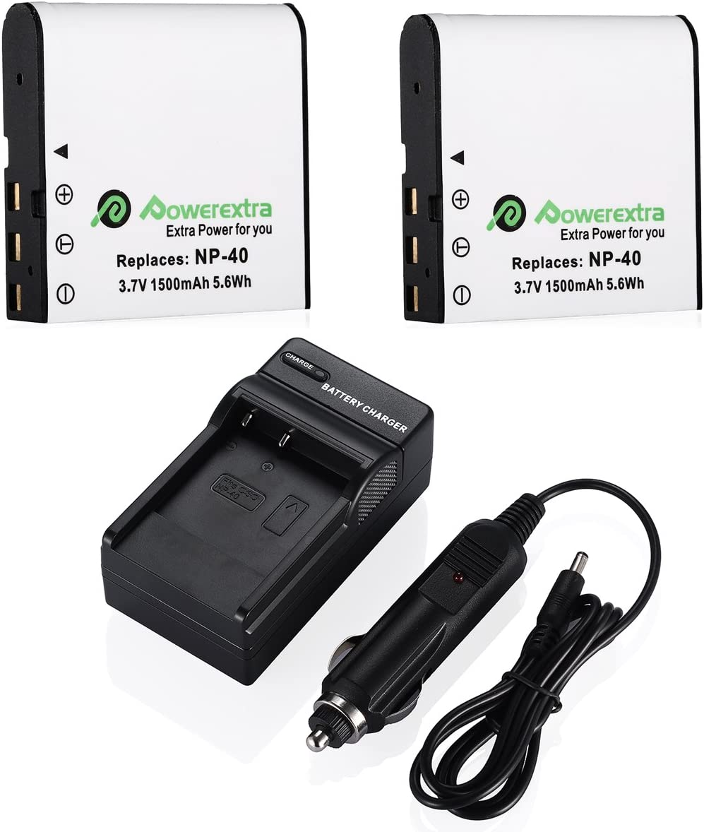 Powerextra 2 x NP-40 Battery and Charger Compatible with Casio NP-40, Casio Exilim EX-Z600, EX-Z750, EX-Z1000, EX-Z1050, EX-Z1080, EX-Z1200, Kodak AZ421(Free Car Charger Available)
