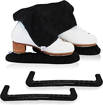 Premium Terry Cloth Ice Skate Blade Cover Guard Soaker Protector Guard Black