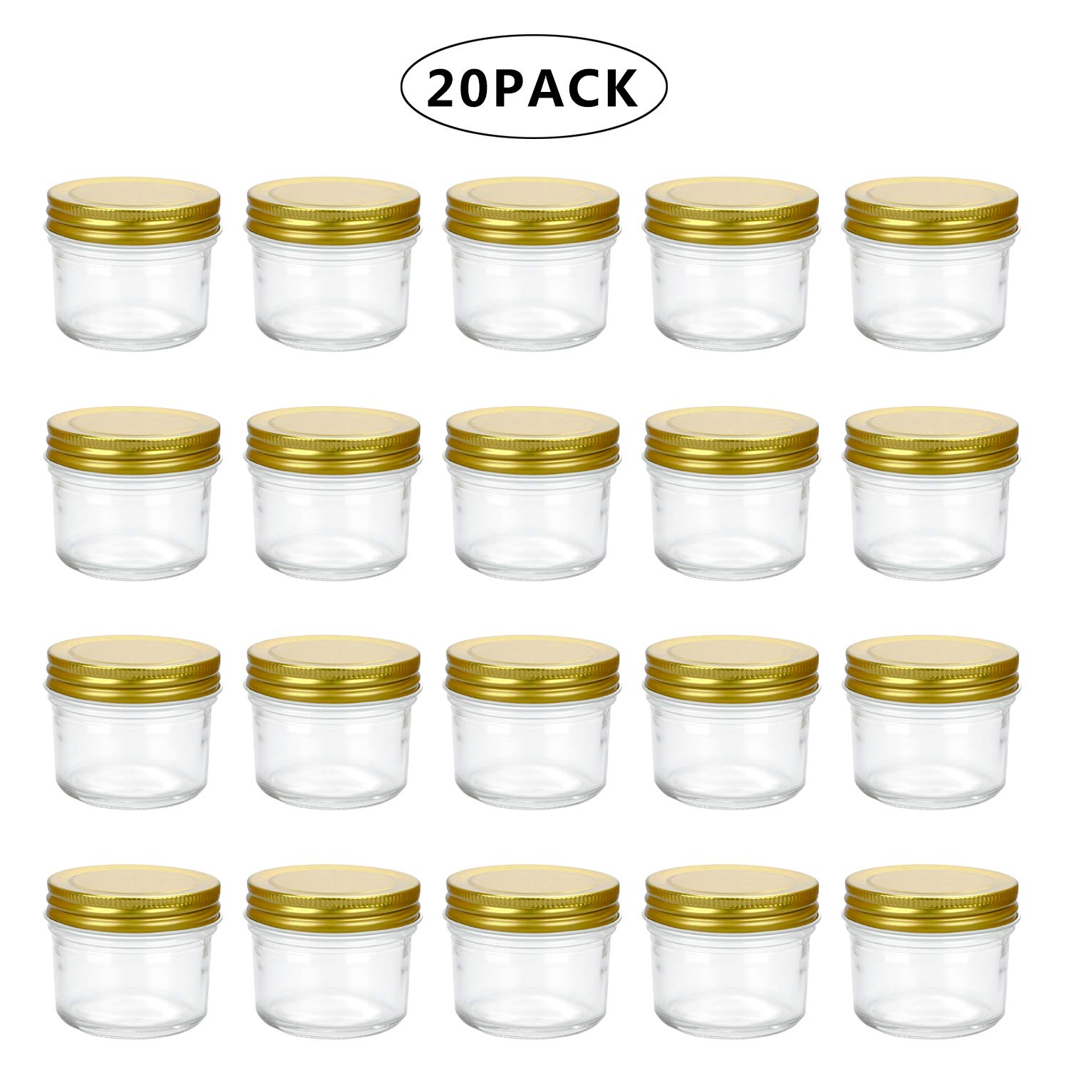 Encheng 4 oz Clear Glass Jars With Lids(Golden),Small Spice Jars For Herb,Jelly,Jams,Wide Mouth Mason Jars Canning Jars For Kitchen Storage 20 Pack …