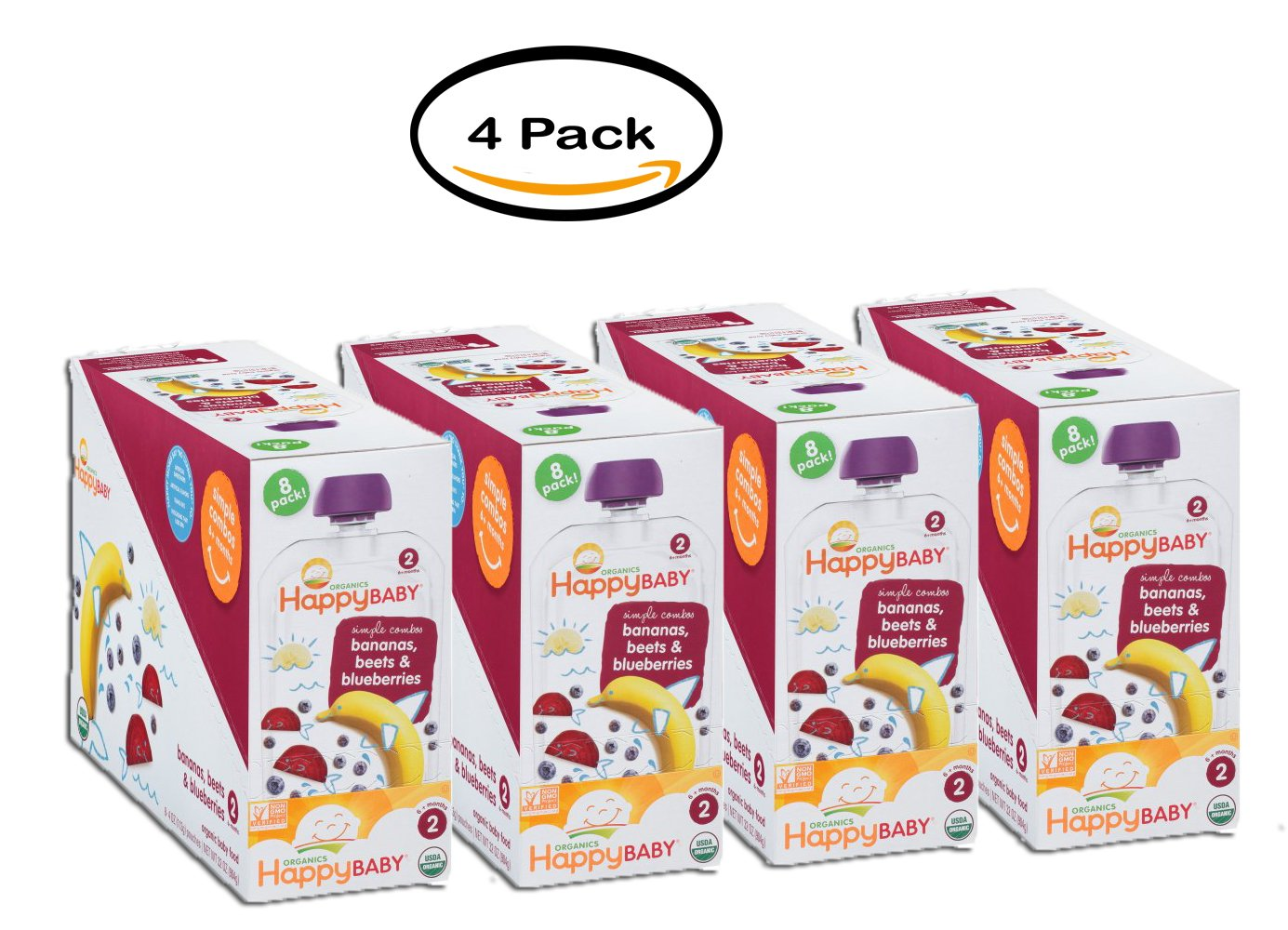 PACK OF 4 - Happy Baby Simple Combos Bananas, Beets & Blueberries Organic Baby Food 8- 4oz. Pouches