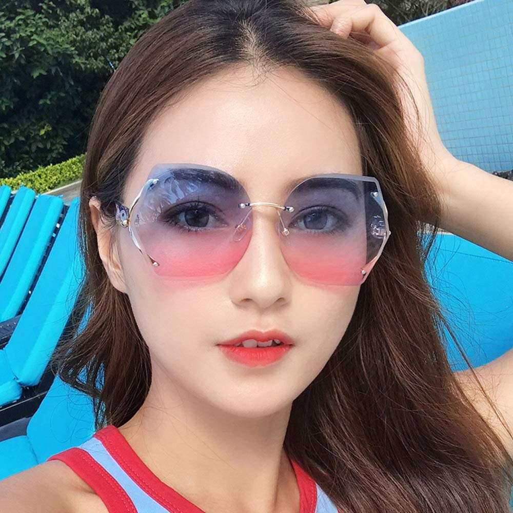 Color : Gray Alvndarling Protecci/ón UV Gafas pol/ígono para Mujer a Juego//Gafas de Sol para Exterior Anti-UVAUVB
