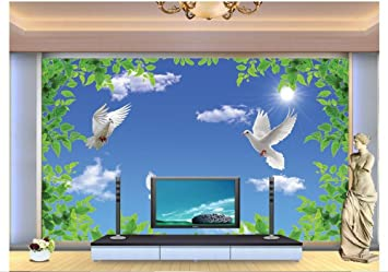 Mznm 3D Photo Mural Wallpaper Blue Sky White Clouds Green Leaves Dove Free Flying Background Painting Murals Home Decoration-200X140Cm: Amazon.es: Bricolaje y herramientas