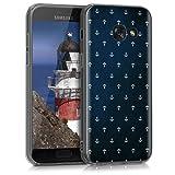 kwmobile Hülle für Samsung Galaxy A3 (2017) - TPU Silikon Backcover Case Handy Schutzhülle - Cover klar Anker Muster Design Weiß Dunkelblau