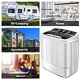 COSTWAY 13 Lbs Mini Twin Tub Washing Machine Washer Spin Dryer