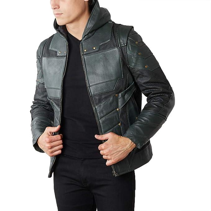 Amazon.com: Chaqueta de piel para hombre, diseño de flecha ...